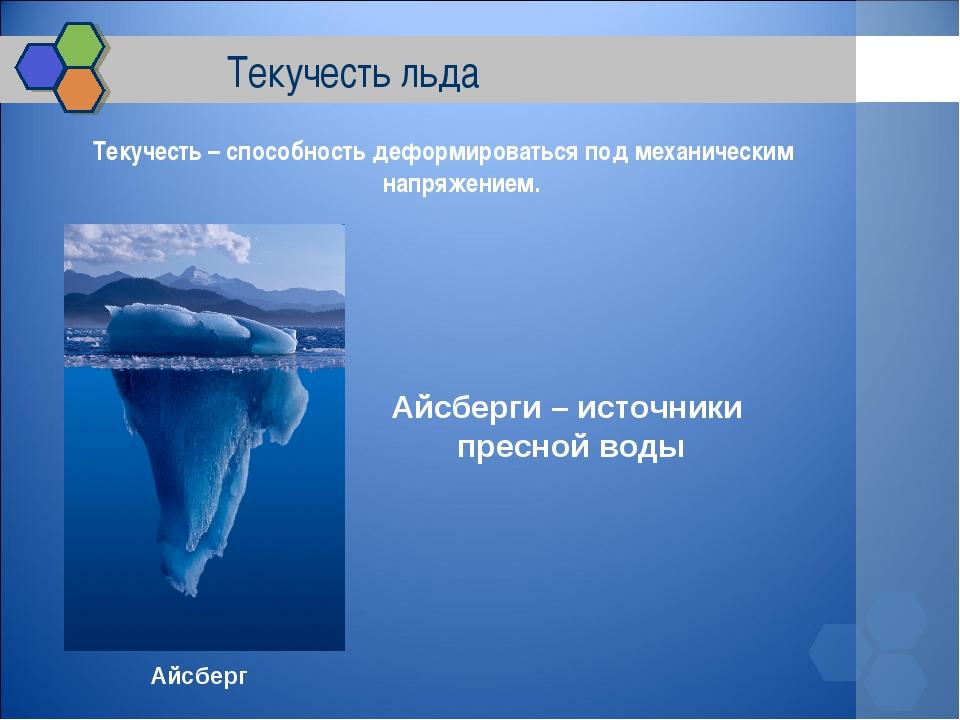 Текучесть льда Текучесть – способность деформироваться под механическим напр...