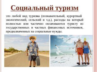 Социальный туризм это любой вид туризма (познавательный, курортный экологичес