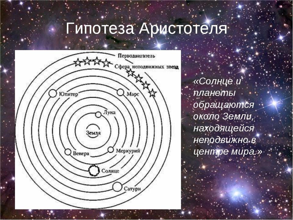 Гипотеза Аристотеля «Солнце и планеты обращаются около Земли, находящейся неп...
