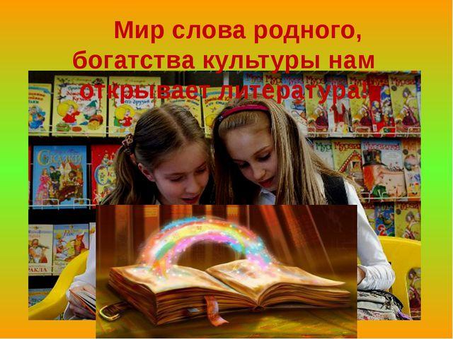 Мир слова родного, богатства культуры нам открывает литература!
