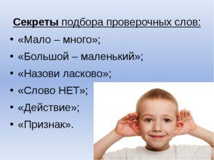 Секреты подбора проверочных слов: «Мало – много»; «Большой – маленький»; «Наз