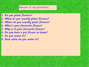 Answer to my questions: 1. Do you plant flowers? 2. When do you usually plant
