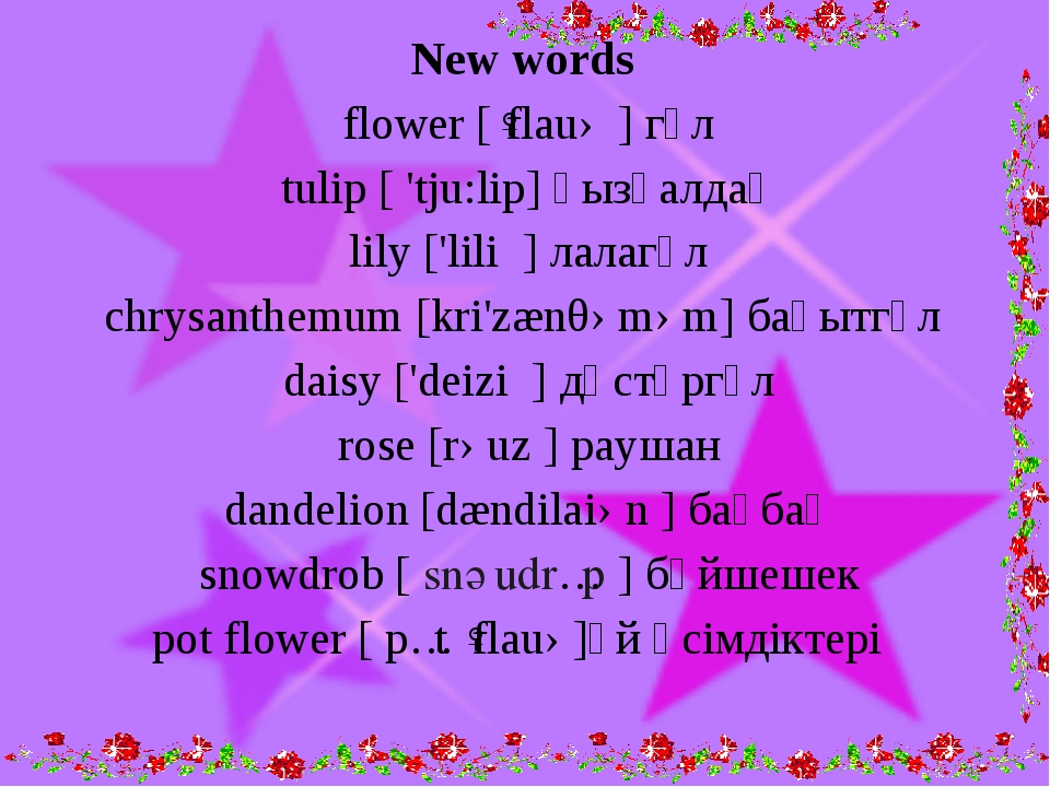 New words flower [ˈflauə ] гүл tulip [ 'tju:lip] қызғалдақ lily ['lili ] лал...