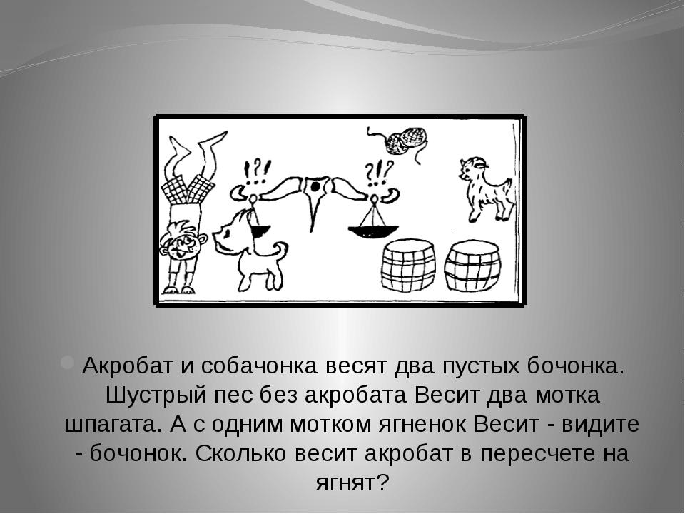 Акробат и собачонка весят два пустых бочонка. Шустрый пес без акробата Весит...