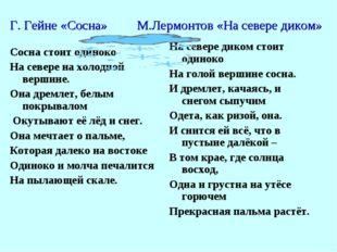 Г. Гейне «Сосна» М.Лермонтов «На севере диком» Сосна стоит одиноко На севере