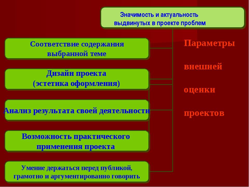 Параметры внешней оценки проектов Значимость и актуальность выдвинутых в прое...