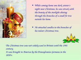 While coming home one dark winter's night near Christmas, he was struck with