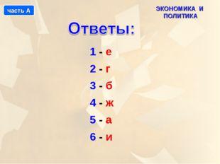 1 - е 2 - г 3 - б 4 - ж 5 - а 6 - и ЭКОНОМИКА И ПОЛИТИКА часть А