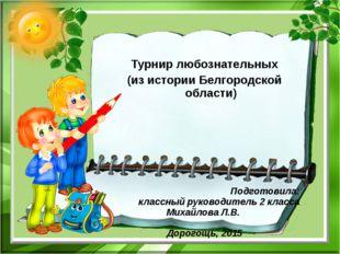 Турнир любознательных (из истории Белгородской области) Подготовила: классны
