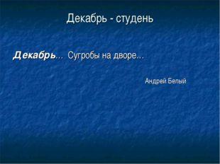 Декабрь - студень Декабрь… Сугробы на дворе…  Андрей Белый