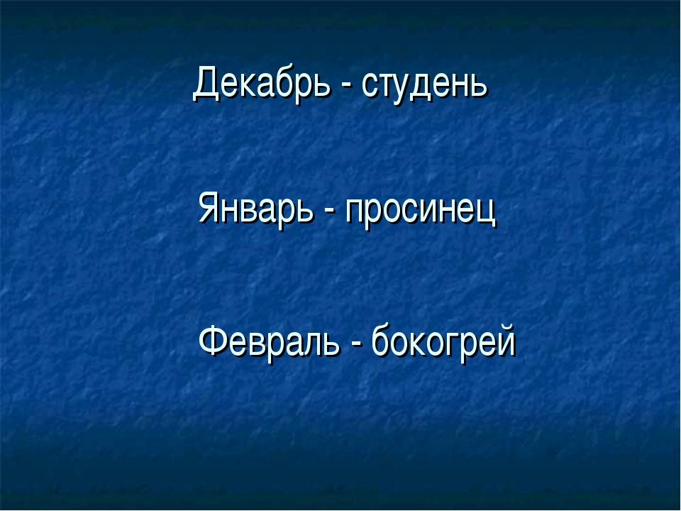 Декабрь - студень Январь - просинец Февраль - бокогрей