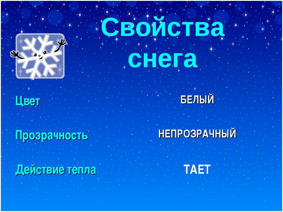 Свойства снега Цвет БЕЛЫЙ ПрозрачностьНЕПРОЗРАЧНЫЙ Действие тепла ТАЕТ