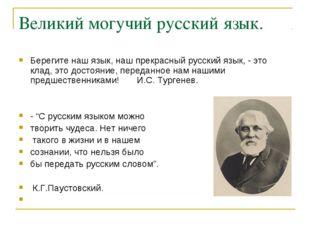 Великий могучий русский язык. Берегите наш язык, наш прекрасный русский язык,