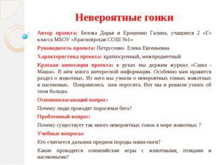 Невероятные гонки Автор проекта: Белова Дарья и Ерошенко Галина, учащиеся 2 «