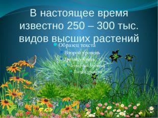 В настоящее время известно 250 – 300 тыс. видов высших растений