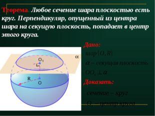 Теорема. Любое сечение шара плоскостью есть круг. Перпендикуляр, опущенный из