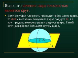 Ясно, что сечение шара плоскостью является круг. Если секущая плоскость прохо