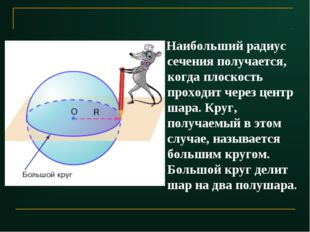 Наибольший радиус сечения получается, когда плоскость проходит через центр ш
