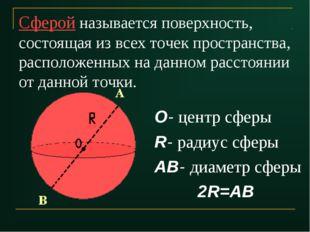 Сферой называется поверхность, состоящая из всех точек пространства, располож