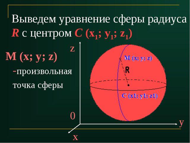 Выведем уравнение сферы радиуса R с центром С (x1; y1; z1) M (x; y; z) -произ...