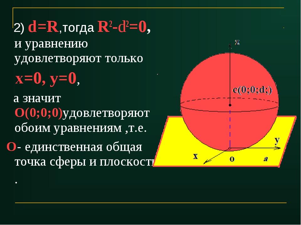 2) d=R,тогда R2-d2=0, и уравнению удовлетворяют только х=0, у=0, а значит О(...