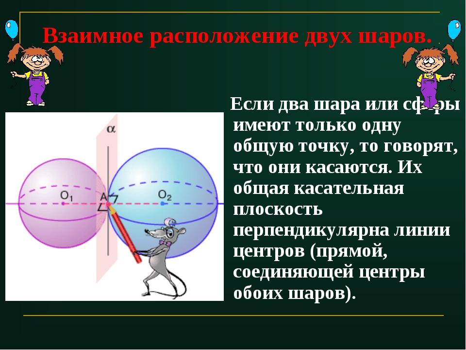Взаимное расположение двух шаров. Если два шара или сферы имеют только одну о...
