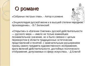 О романе «Собранье пестрых глав», - Автор в романе «Энциклопедия русской жизн