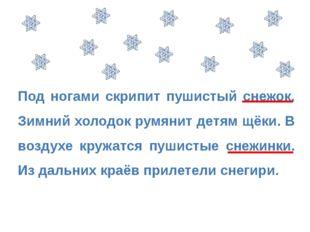 Под ногами скрипит пушистый снежок. Зимний холодок румянит детям щёки. В возд
