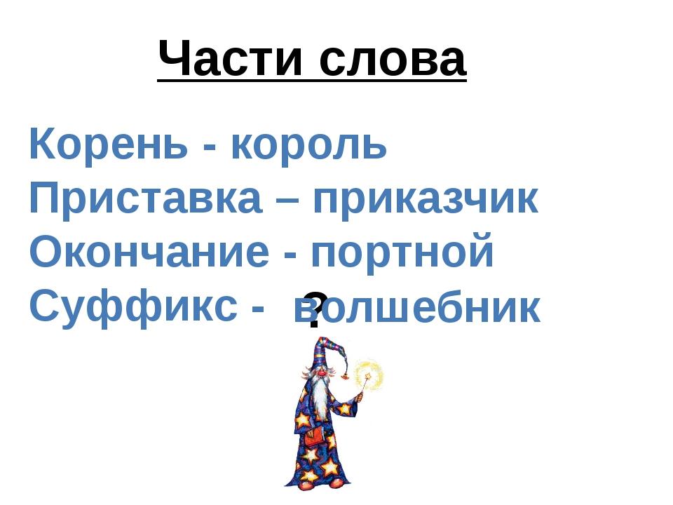 Корень - король Приставка – приказчик Окончание - портной Суффикс - Части сло...