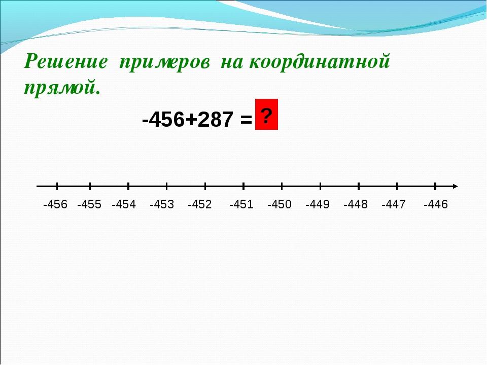 Решение примеров на координатной прямой. -456+287 = -456 -455 -454 -453 -452...
