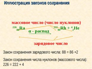 α - распад зарядовое число массовое число (число нуклонов) Закон сохранения з