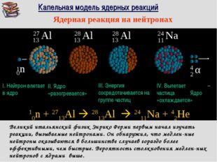 27 Al 13 Капельная модель ядерных реакций I. Нейтрон влетает в ядро II. Ядро