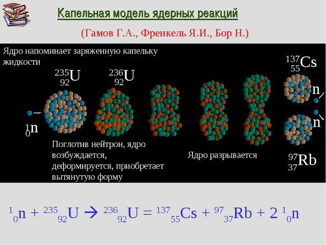 97Rb 137Cs 55 37 Капельная модель ядерных реакций (Гамов Г.А., Френкель Я.И.,...