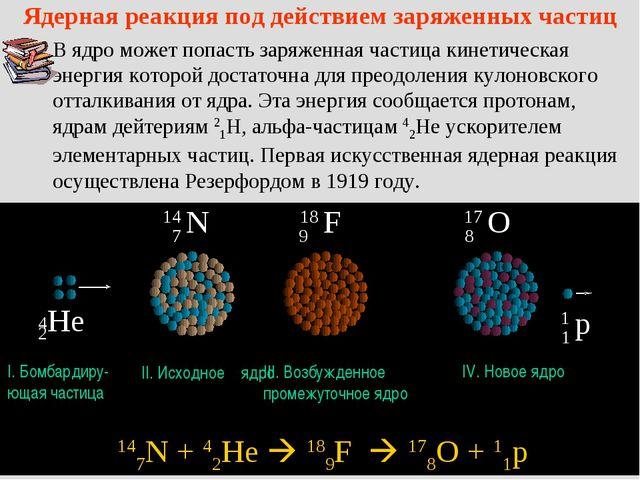 Ядерная реакция под действием заряженных частиц В ядро может попасть заряженн...