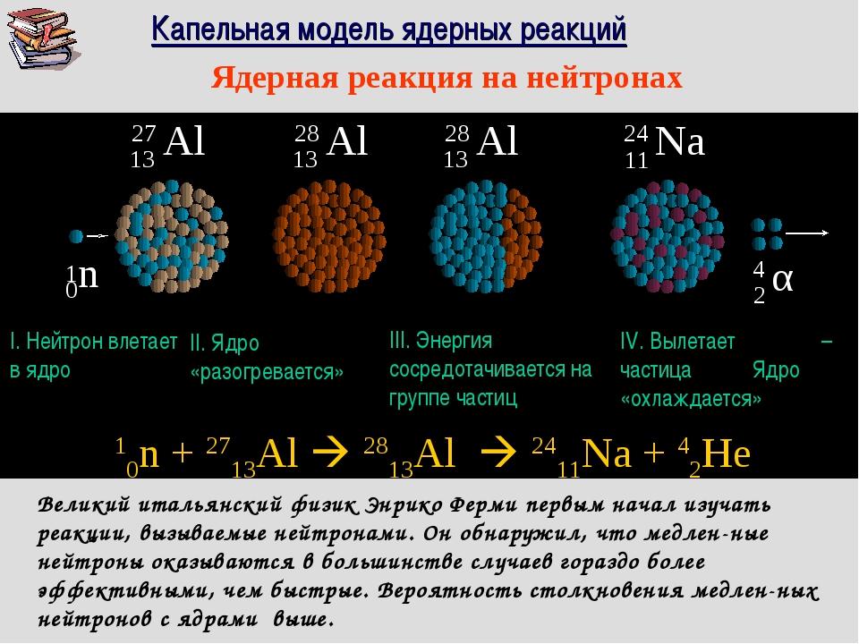 27 Al 13 Капельная модель ядерных реакций I. Нейтрон влетает в ядро II. Ядро...