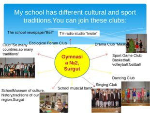 My school has different cultural and sport traditions.You can join these club