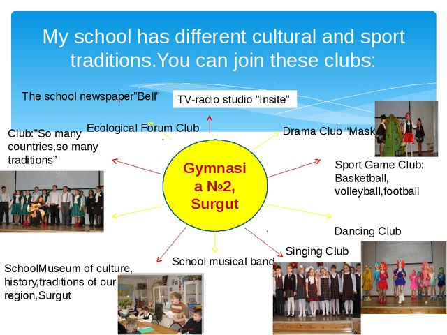 My school has different cultural and sport traditions.You can join these club...