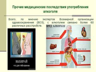 Прочие медицинские последствия употребления алкоголя Всего, по мнению эксперт