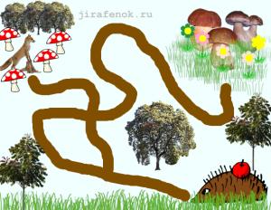 ёжик и грибы лабиринт