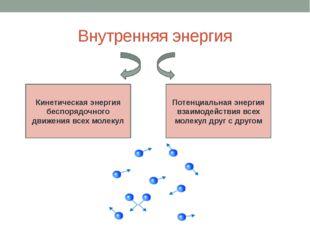 Внутренняя энергия Кинетическая энергия беспорядочного движения всех молекул