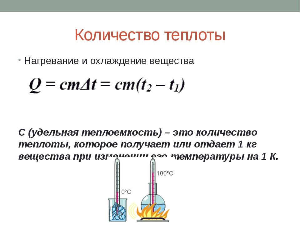Количество теплоты Нагревание и охлаждение вещества С (удельная теплоемкость)...