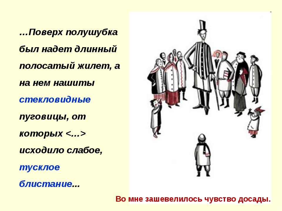…Поверх полушубка был надет длинный полосатый жилет, а на нем нашиты стеклови...