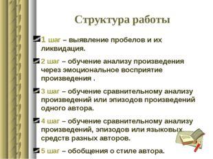 Структура работы 1 шаг – выявление пробелов и их ликвидация. 2 шаг – обучение