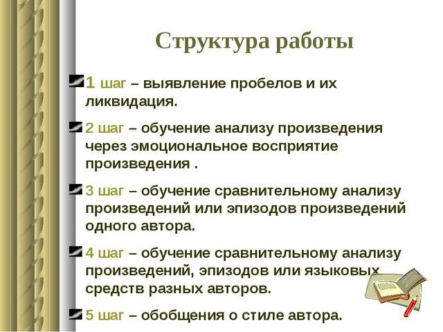 Структура работы 1 шаг – выявление пробелов и их ликвидация. 2 шаг – обучение...