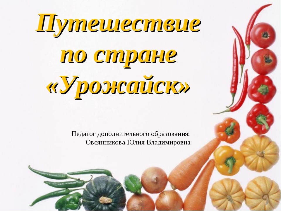 Путешествие по стране «Урожайск» Педагог дополнительного образования: Овсянни...