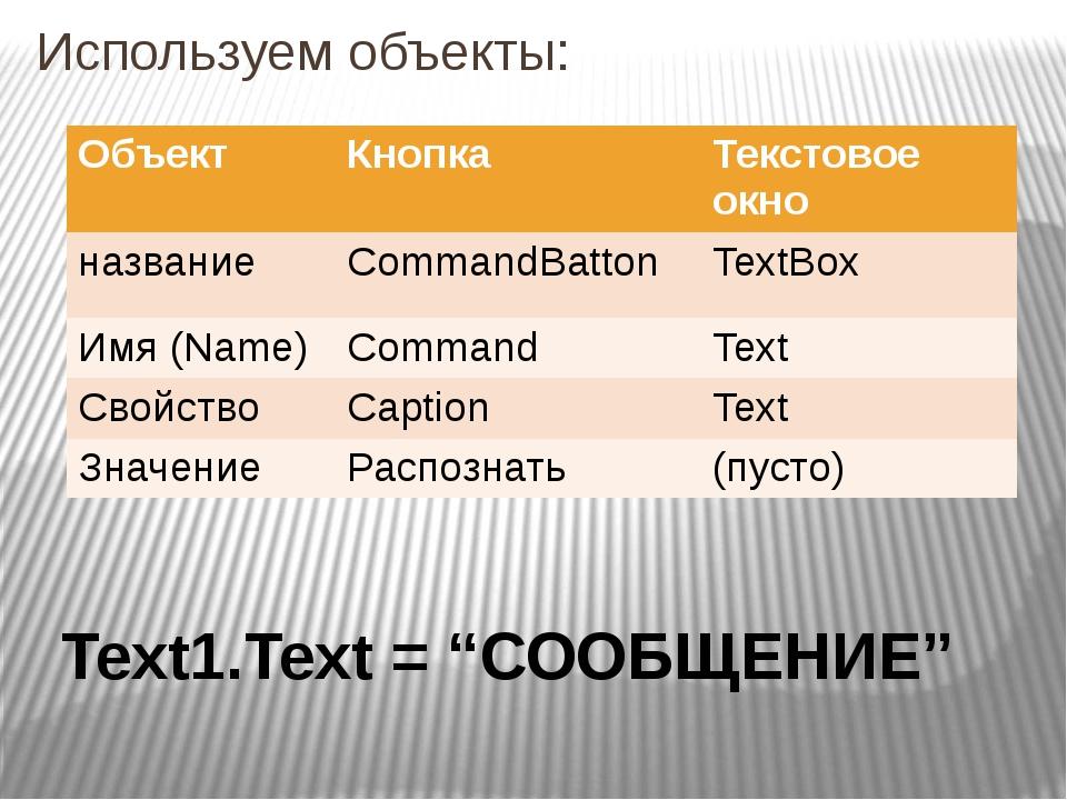 """Используем объекты: Text1.Text = """"СООБЩЕНИЕ"""" Объект Кнопка Текстовоеокно назв..."""