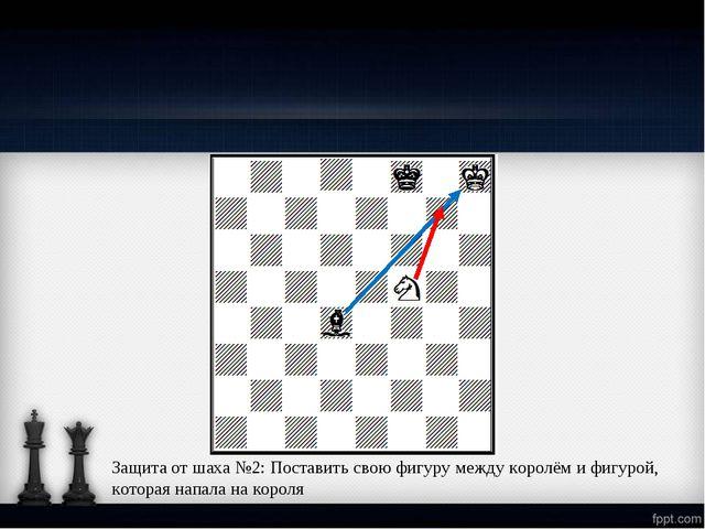 Защита от шаха №2: Поставить свою фигуру между королём и фигурой, которая нап...