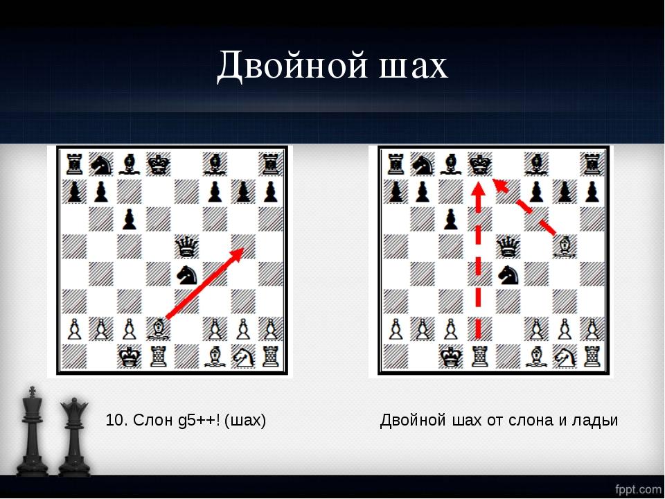Двойной шах 10. Слон g5++! (шах) Двойной шах от слона и ладьи