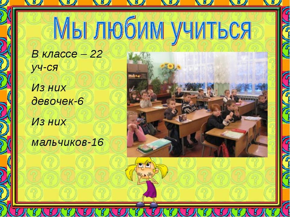 В классе – 22 уч-ся Из них девочек-6 Из них мальчиков-16
