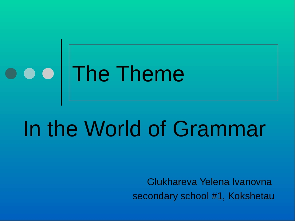 The Theme In the World of Grammar Glukhareva Yelena Ivanovna secondary school...